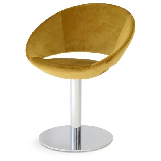 Crescent Round Swivel Chair, Gold Velvet, Large Seat photo