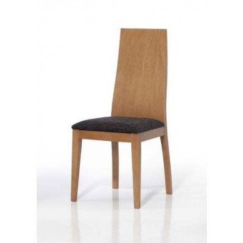 4015 Dining Chair, Brown Base, Dark Brown Upholstery
