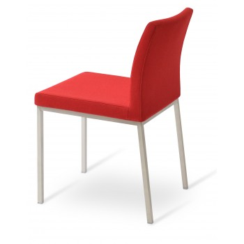 Aria Dininng Chair, Stainless Steel Base, Red Camira Wool by SohoConcept Furniture