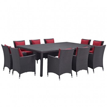 Convene 11 Piece Outdoor Patio Dining Set, Сomposition 2, Espresso, Red by Modway