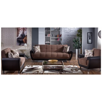 Duru 3-Piece Living Room Set, Optimum Brown