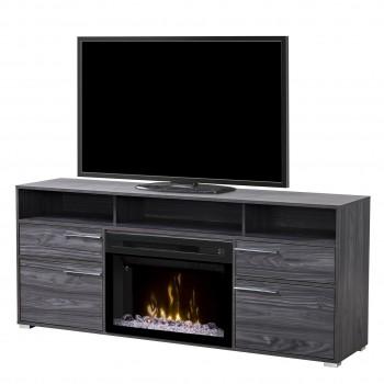 "Sander Media Console, Carbonized Walnut Finish, Acrylic Ice 25"" Firebox"