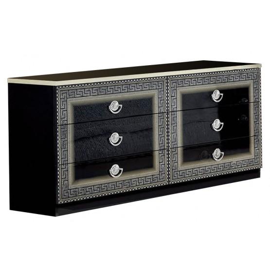 Aida Double Dresser, Black + Silver photo