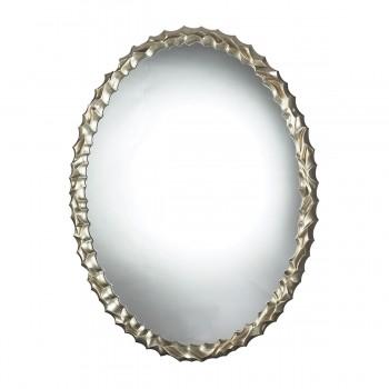 Emery Hill Oval Mirror In Silver Leaf