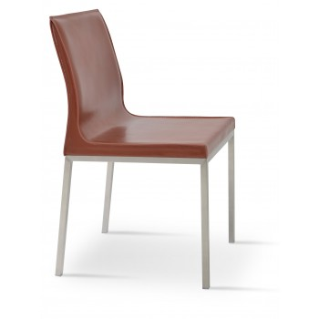 Polo Chrome Dining Chair, Light Brown Bonded Leather by SohoConcept Furniture