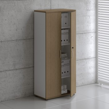 Basic K5104 Shelving Storage, White + Canadian Oak