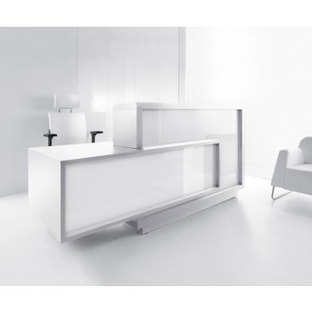 FORO LF11 Reception Desk, High Gloss White