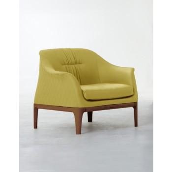 Tiffany Armchair, Canaletto Walnut Wood Base, Mustard Yellow Eco-Leather