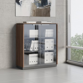 Status 2 Glass Door Storage Cabinet X35, Lowland Nut