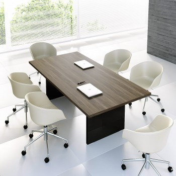 Mito Conference Table MIT11, Light Sycamore + Black High Gloss
