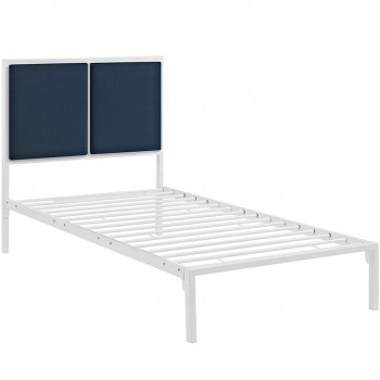 Della Twin Fabric Bed, White Azure by Modway