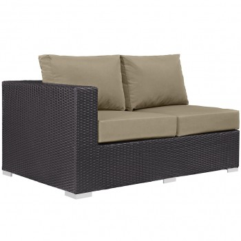 Convene Outdoor Patio Left Arm Loveseat, Espresso, Mocha by Modway