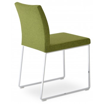 Aria Sled Dininng Chair, Forest Green Camira Wool by SohoConcept Furniture