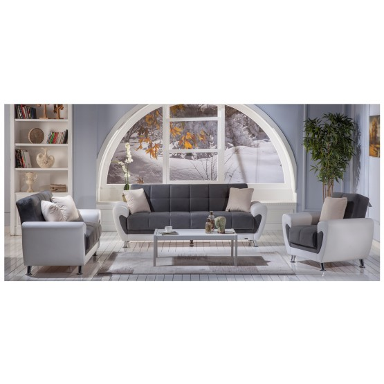 Duru 3-Piece Living Room Set, Plato Dark Grey photo