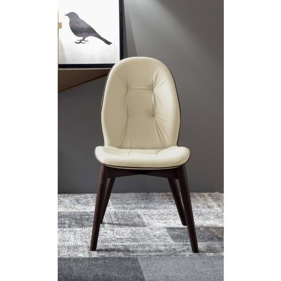 Sorrento Dining Chair, Dark Oak Heat-Treated Wood Base, Beige Leather Upholstery, Dark Brown Creasing photo
