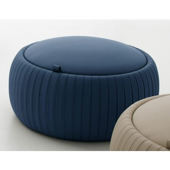 Plisse Small Pouf, Blue Eco-Leather