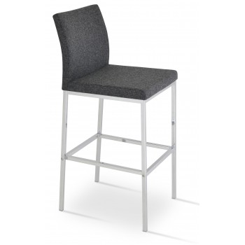 Aria Chrome Counter Stool, Dark Grey Camira Wool by SohoConcept Furniture