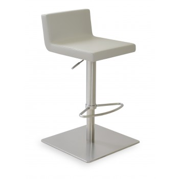 Dallas Piston Stool, Chrome, Light Grey Leatherette, Square Base by SohoConcept Furniture