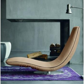 Ricciolo Chaise Lounge, Dove Grey Eco-Leather