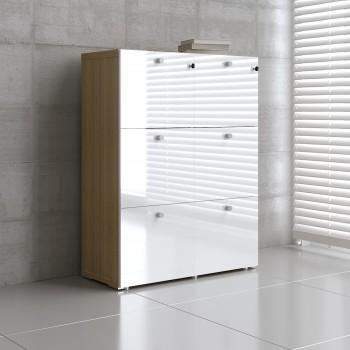 Mito 6 File Drawers Storage MIT22, Light Sycamore + White High Gloss