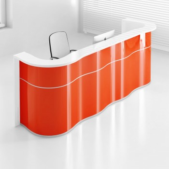 Wave LUV24 Reception Desk, High Gloss Orange