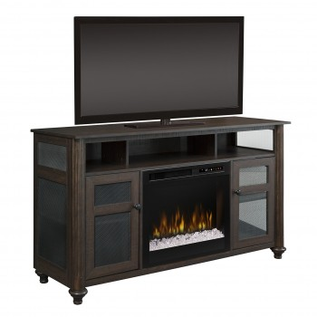 Xavier Media Console, Acrylic Ice Firebox, Brown