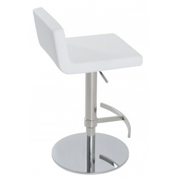 Dallas Piston Stool, T-Foot Rest, Chrome, White Leatherette, Round Base by SohoConcept Furniture
