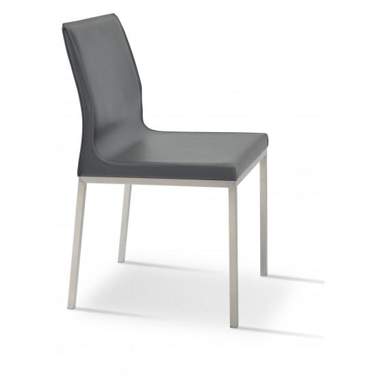 Polo Chrome Dining Chair, Dark Grey Bonded Leather photo