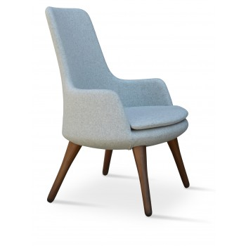 Dervish Lounge Wood High Back Armchair, Solid Beech Walnut Finish, Silver Camira Wool by SohoConcept Furniture