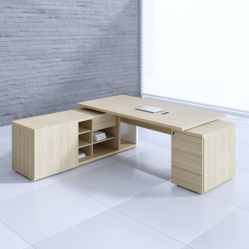 Mito Executive Desk w/Managerial Side Storage + Pedestal MIT2KD, Light Sycamore + White High Gloss
