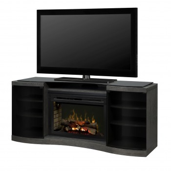"""Acton Media Console, Silver Charcoal Finish, PF3033HL 33"""" Realogs Firebox"""