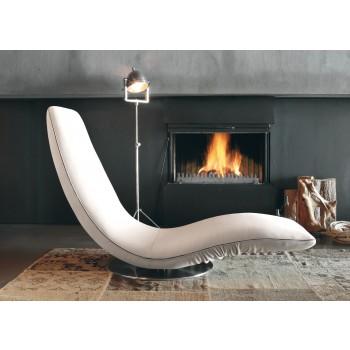 Ricciolo Chaise Lounge, White Orchidea Fabric