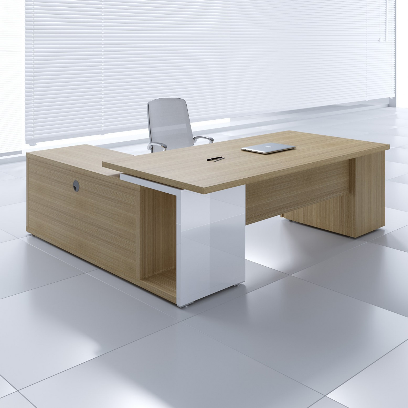 Mito Executive Desk w/Managerial Side Storage + Pedestal MIT1KD, Light  Sycamore + White High Gloss