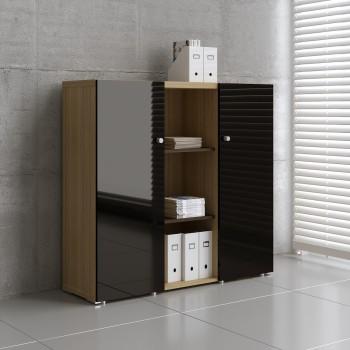 Mito 2-Door Storage MIT20, Light Sycamore + Black High Gloss