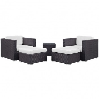 Convene 5 Piece Outdoor Patio Sectional Set, Сomposition 1, Espresso, White by Modway