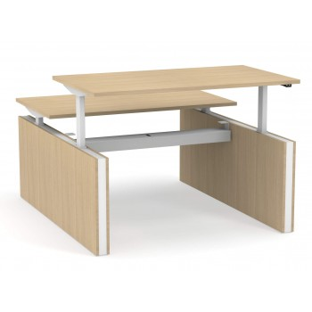 Motion Customizable Sit-Stand Office 2-Desk Bench with Panel Legs