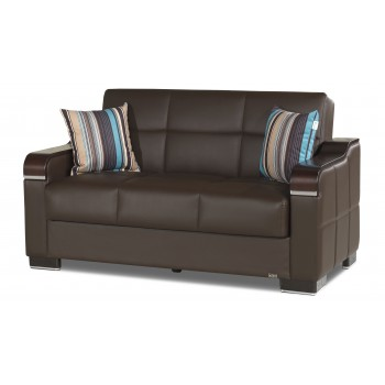 Uptown Loveseat, Brown Leatherrette by Casamode