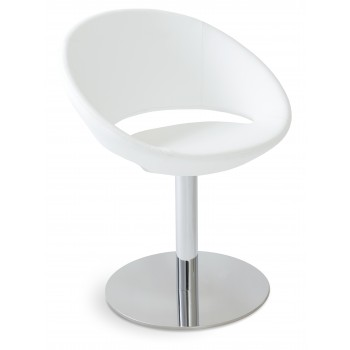 Crescent Round Swivel Chair, White PPM, Large Seat by SohoConcept Furniture