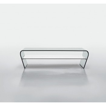 Amaranto Coffee Table with Extra Clear White Glass Shelf, Extra Clear Transparent
