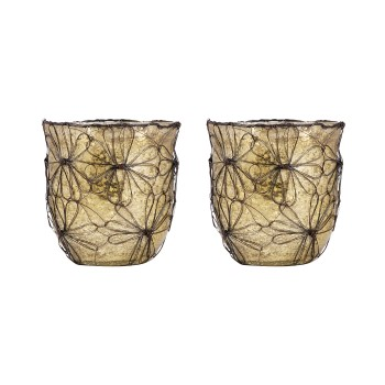 Camille Votive, Brown, Set of 2