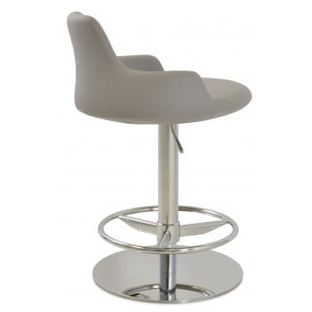 Dervish Piston Stool, Bone Leatherette, Full Foot Rest by SohoConcept Furniture
