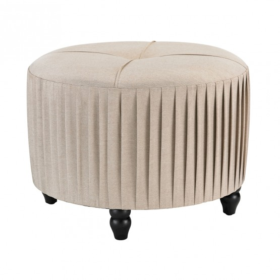 Pleated Ottoman In Natural Linen photo