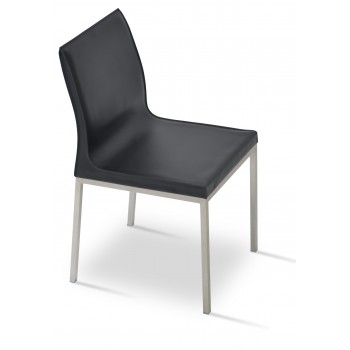 Polo Chrome Dining Chair, Black Bonded Leather by SohoConcept Furniture