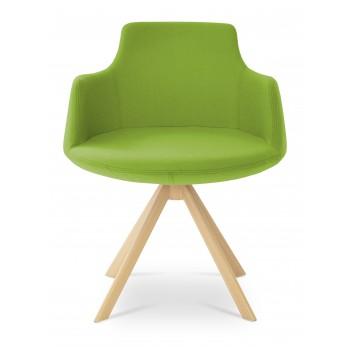 Dervish Sword Dining Chair, Natural Veneer Steel, Pistachio Camira Wool by SohoConcept Furniture