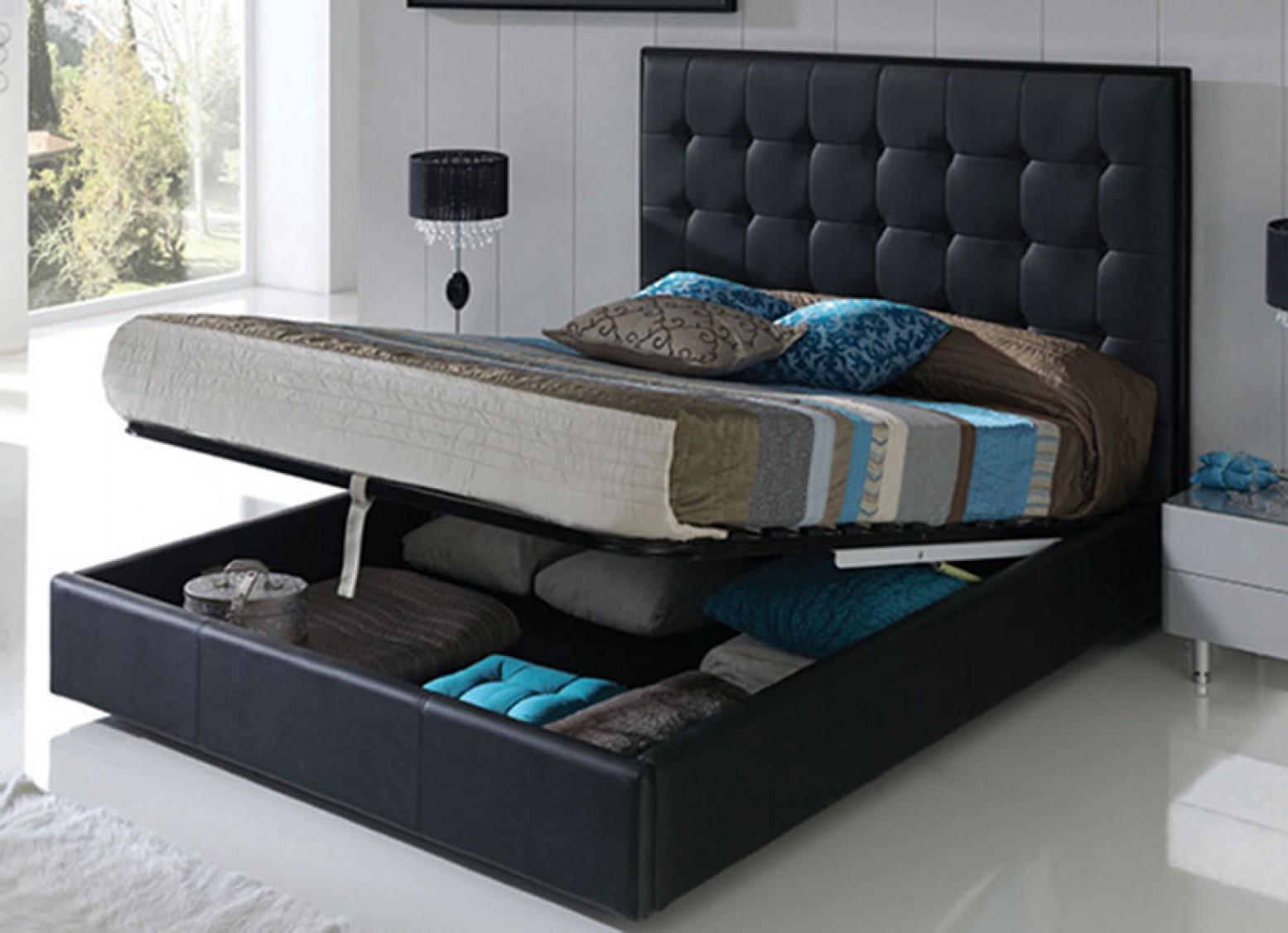 Penelope 622 King Size Storage Bed With Folding Frame Black Buy