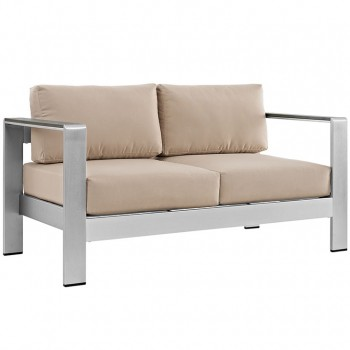 Shore Outdoor Patio Aluminum Loveseat, Silver, Beige by Modway