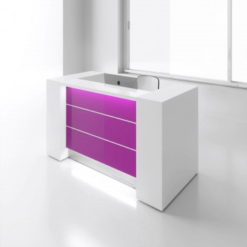 Valde LAV01L Reception Desk, High Gloss Fuchsia