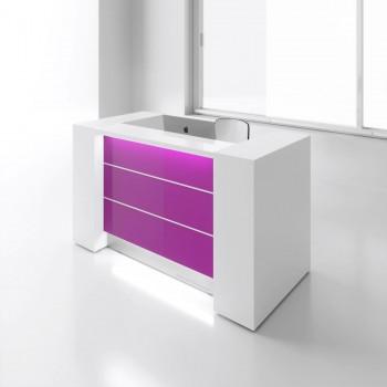 Valde LAV03L Reception Desk, High Gloss Fuchsia