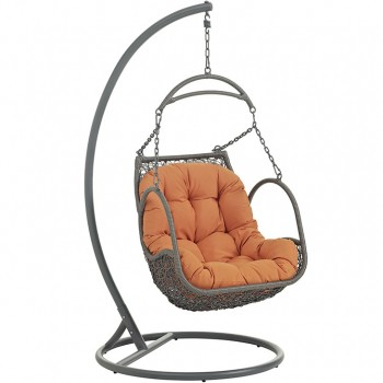 Arbor Outdoor Patio Wood Swing Chair With Stand, Orange by Modway