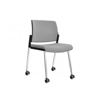 Aura Stackable Visitor Chair, 4-leg Base w/Castors